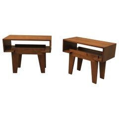 Mid-Century Modern Architectural Open Walnut End Tables