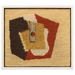 Framed French 1940s Needlepoint Abstract Art