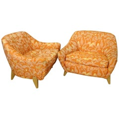 Pair of Paul Laszlo Attributed Low Wide California Modern Lounge Chairs