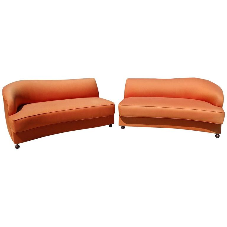 Large Curvy Two Piece Noguchi Inspired Sectional Couch At