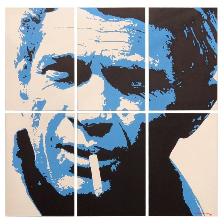 Large Six-Panel Steve McQueen Portrait Painting by Detroit Artist Billy Couch For Sale