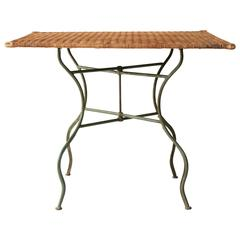 1960s French Folding Wicker Card Table