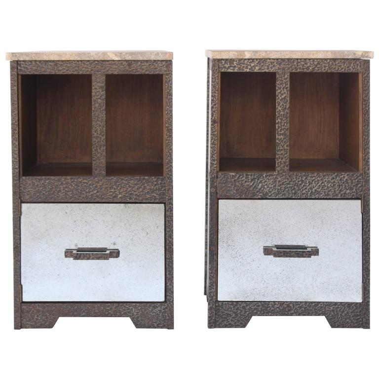 Pair of Iron and Antiqued Mirror End Tables with Limestone Tops
