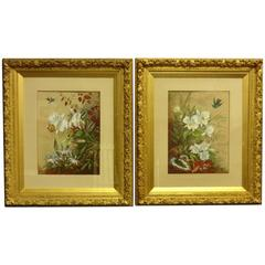 Large Pair of Signed Victorian Watercolors