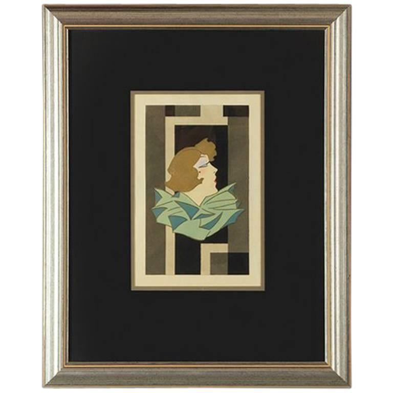 Stylized Art Deco Gouache of a Woman, France, 1920s