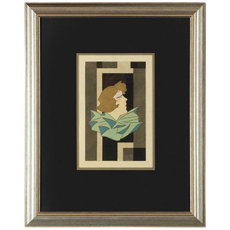 Stylized Art Deco Gouache of a Woman, France, 1920s