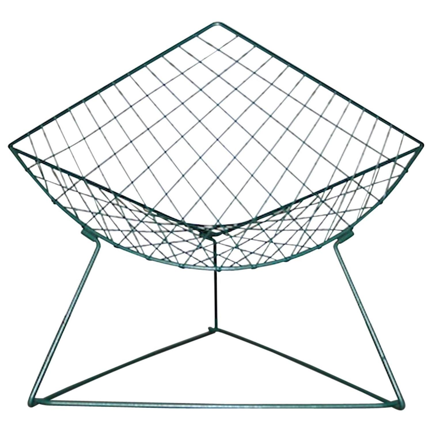 vintage green metal wire lounge chair by niels gammelgaard for ikea