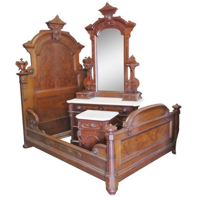 Three-Piece, Victorian Walnut Marble-Top Bedroom Set Mann