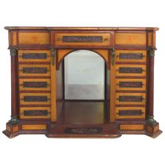 19th Century 13-Drawer Cabinet Top Chest, Bronze Mounts & Finely Carved Panels