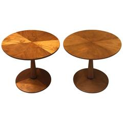 Walnut Pedestal Side Tables by Kipp Stewart for Drexel Declaration
