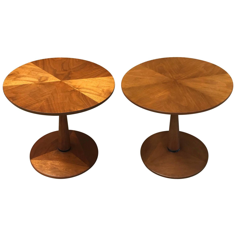 Walnut Pedestal Side Tables By Kipp Stewart For Drexel Declaration