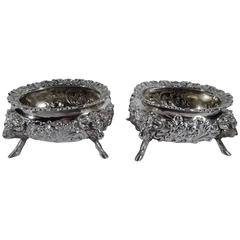 Pair of Neoclassical Style Sterling Silver Open Salts by Howard of New York