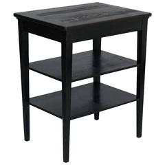 Early 20th Century Ebonized Rustic Side Table, Working Table in Massive Walnut