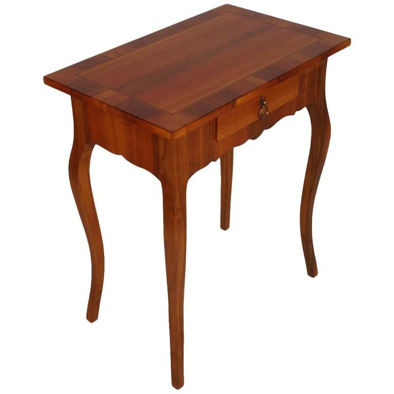 mid-century bedside table, side table, massive walnut and applied