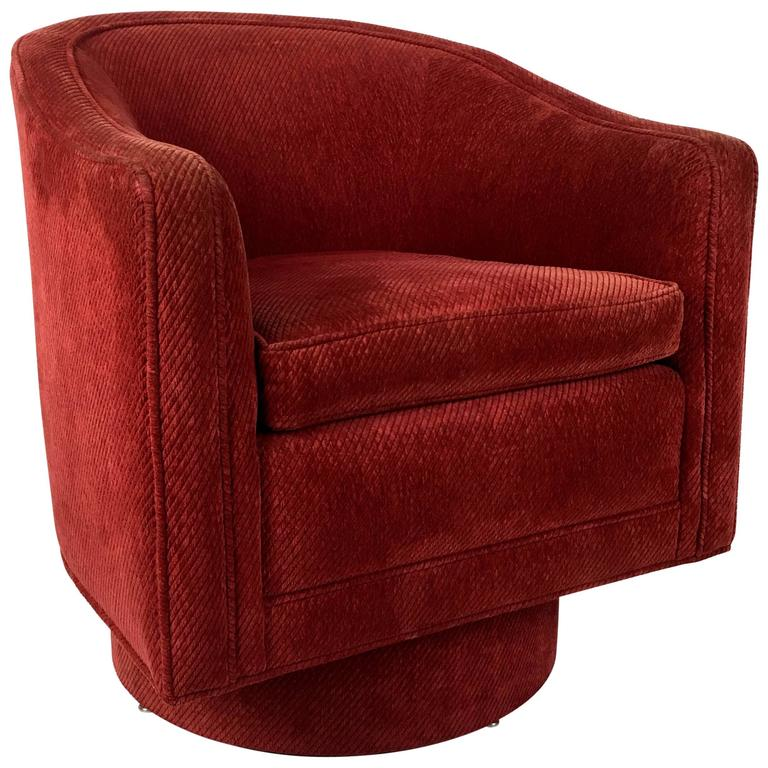 Barrel Swivel Chair by Milo Baughman For Sale