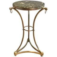 Small Neoclassical Brass Gueridon with Green Marble Top by Maison Charles