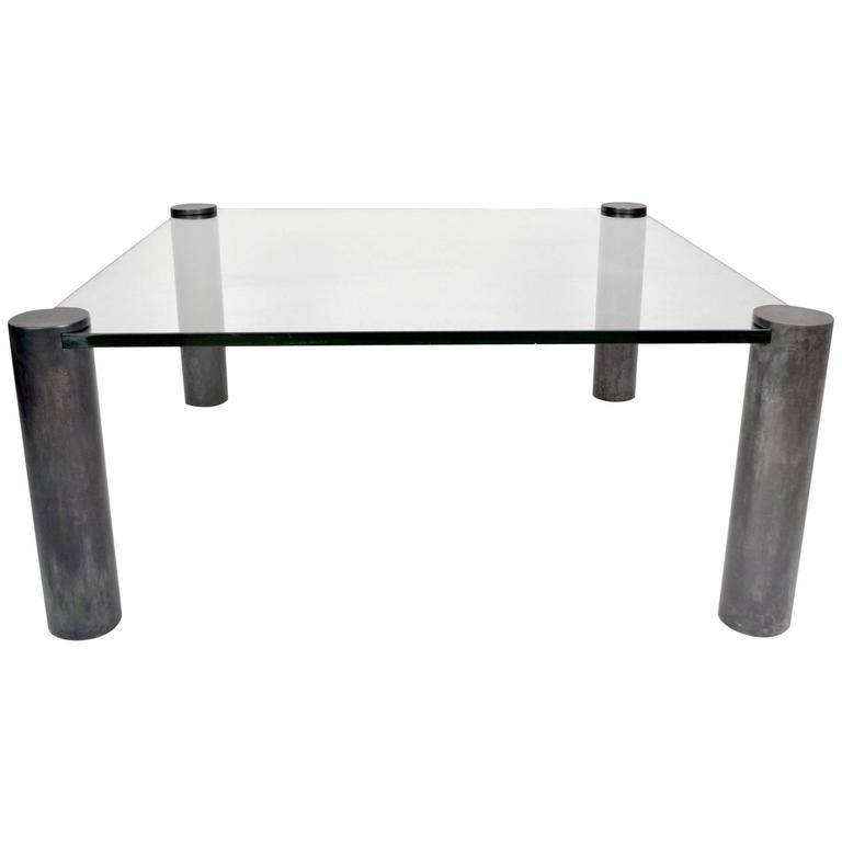 Vintage 1980s Coffee Table with Patinated Brass Cylinder Legs