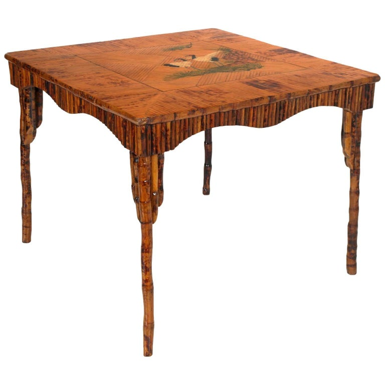 Unobtainable Fabulous Art Deco Bamboo Lacquered Table For Sale