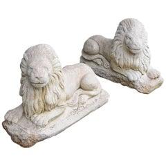 Pair of Antique Garden Lions