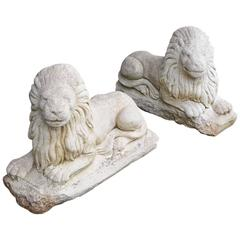 Pair of Antique Garden Lions