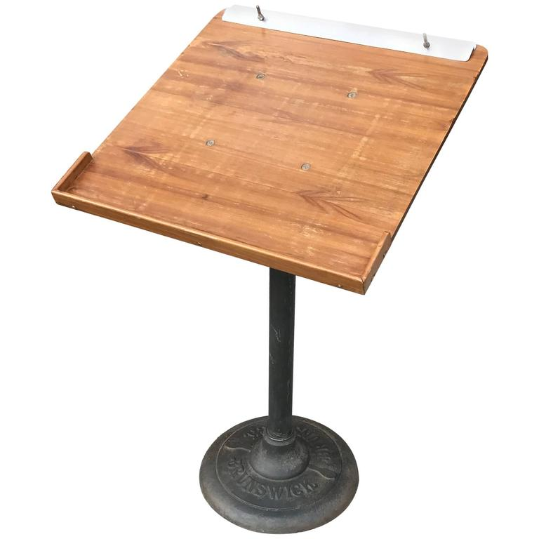 Industrial Cast Iron and Wood Bowling Score Stand by Brunswick