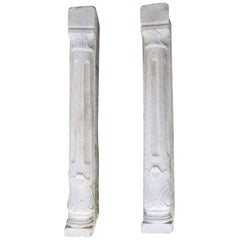 Pair of Antique Marble Pilaster Console Plinth