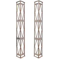 Antique Wrought Iron Porch Brackets, Pair