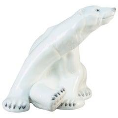Rare & Huge Porcelain Polar Bear by Niels Nielsen, Bing & Grondahl Denmark 1970s
