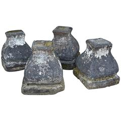 Four Antique Stone Pedestals or Plinths