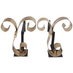 Polished Bronze Scroll Andirons, American, 1940s