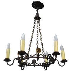 1920s Spanish Revival Bronze and Wrought Iron Chandelier