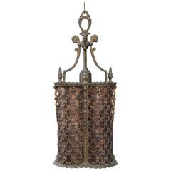 1920s Wonderful Bronze and Iron Pendant with Moorish Pattern