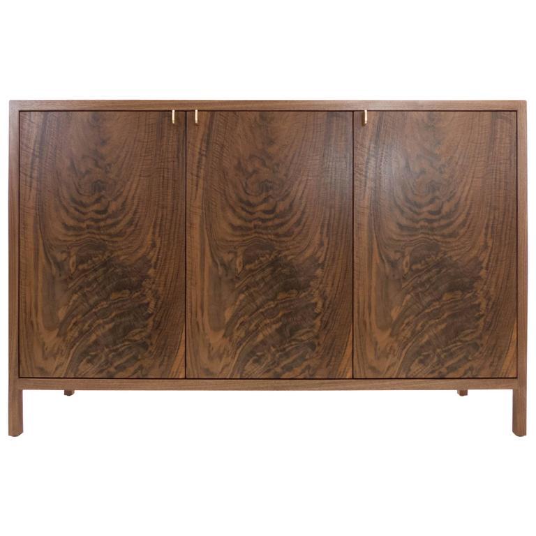Laska Credenza, Figured Walnut and Brass, Three Doors, Customizable