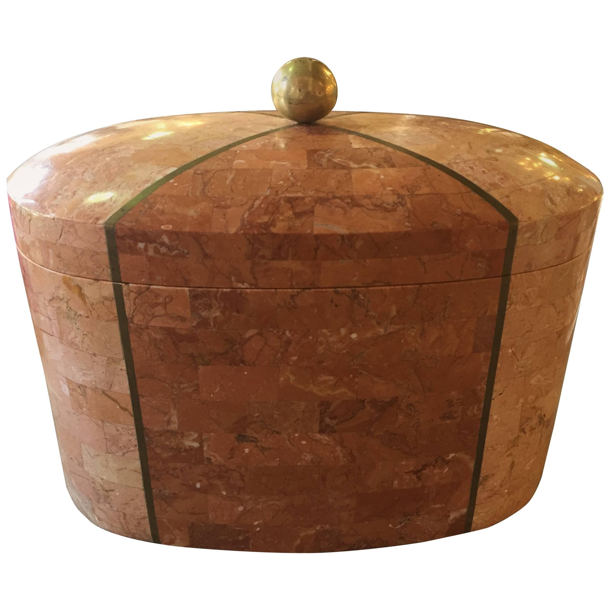 Maitland-Smith Tessellated Marble Box