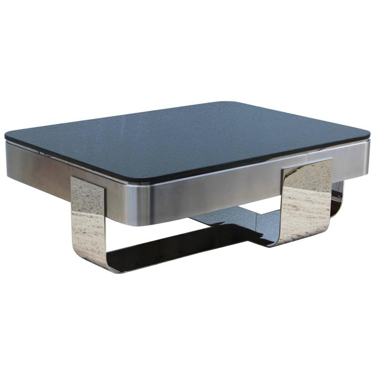 Glass And Metal Square Coffee Table In Black W 80cm: Brueton Polished Steel With Granite Top Coffee Table At