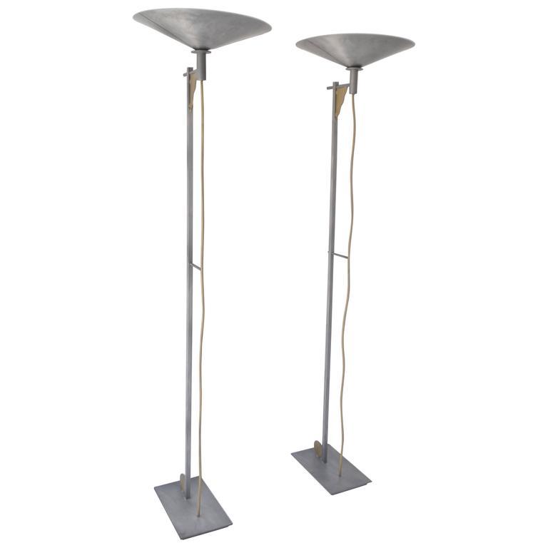 Pair Of Postmodern Torchiere Floor Lamps By George Kovacs 1