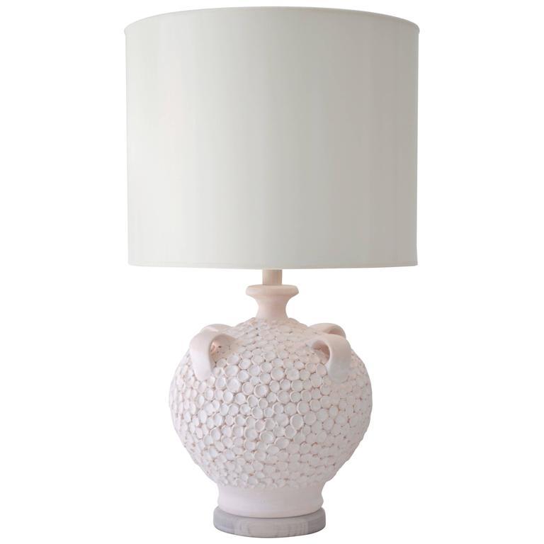 Mid-Century Coral Glazed Ceramic Jar Form Table Lamp