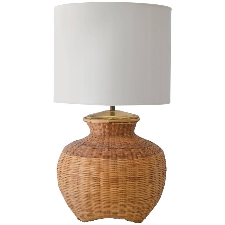 Mid-Century Woven Rattan Basket Form Table Lamp For Sale
