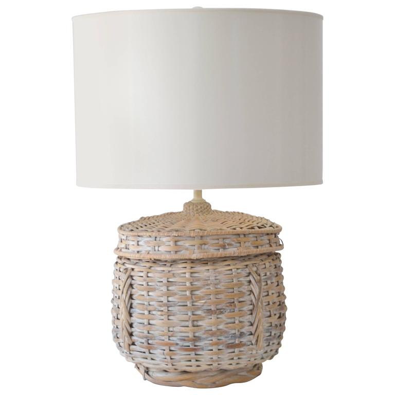 Mid-Century Whitewashed Woven Rattan Basket Form Table Lamp
