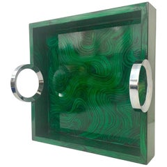 Contemporary Malachite Lacquered Wood and Nickel Silver Tray