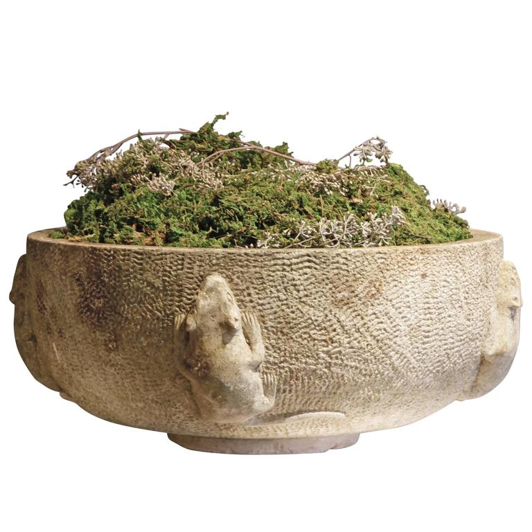 Scandinavian stone bird bath with relief carving for sale
