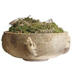 Scandinavian Stone Bird Bath with Relief Carving