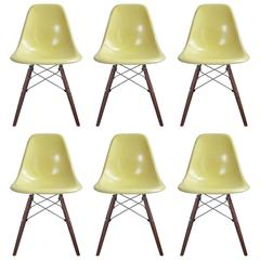 Six Lemon Yellow Herman Miller Eames DSW Dining Chairs