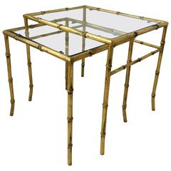 Set of Midcentury Italian Gold Gilt Bamboo and Glass Nesting or End Tables
