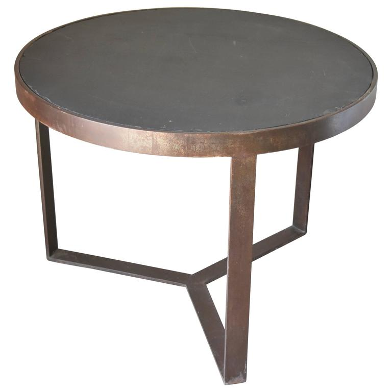 Handmade European Black Iron Round Side Table With Black Slate Top For Sale At 1stdibs