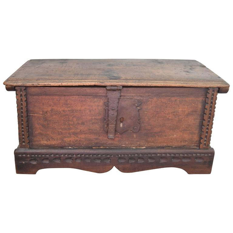 Decorative boxes for coffee table : Th century spanish walnut coffee table or document box