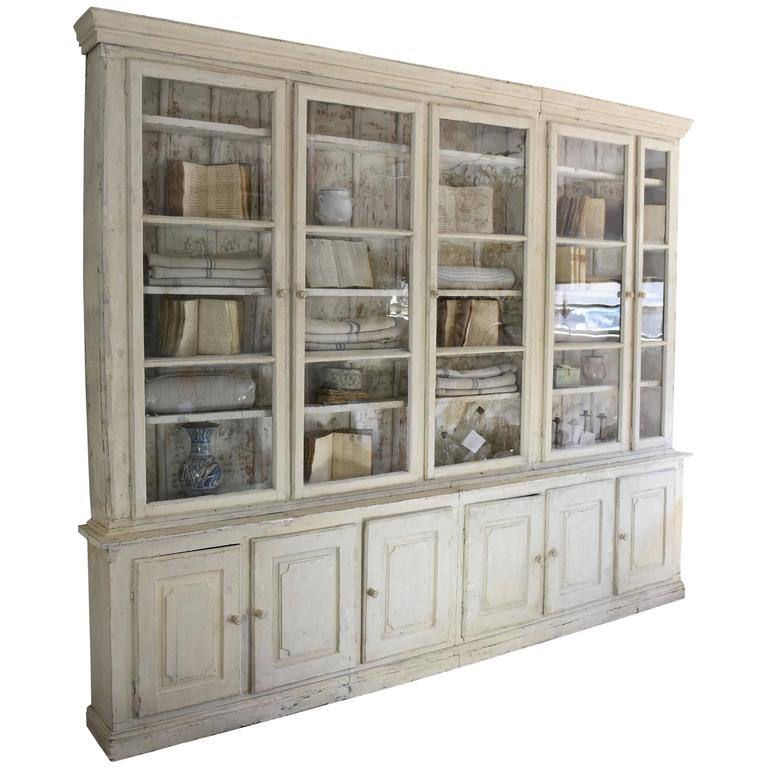 Spanish 18th Century Pharmacy Cabinet Painted In Creamy White For Sale
