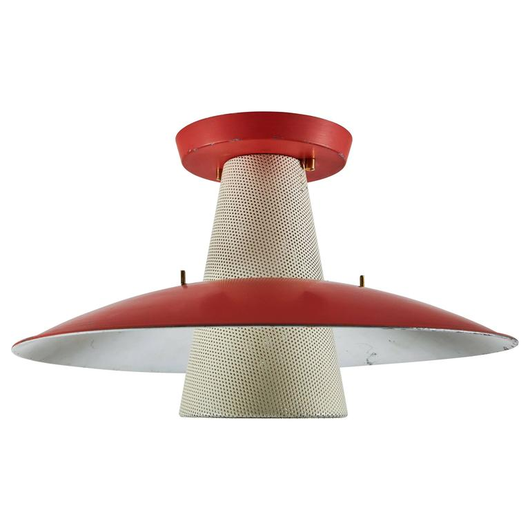 Flush Mount Ceiling Light by Gerald Thurston for Lightolier