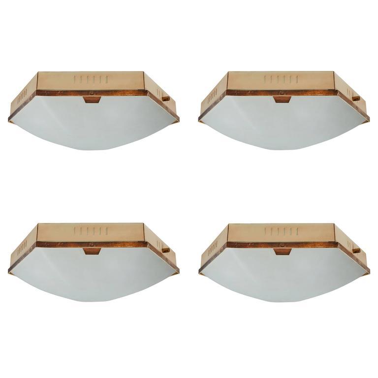 Four Hexagonal Brass and Glass Ceiling/Wall Lights by Stilnovo