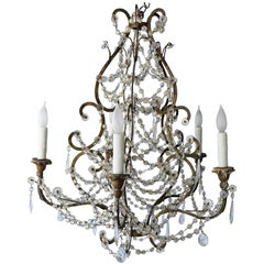 Italian Early 19th Century Draped Blown Glass Beaded Chandelier Iron and Wood